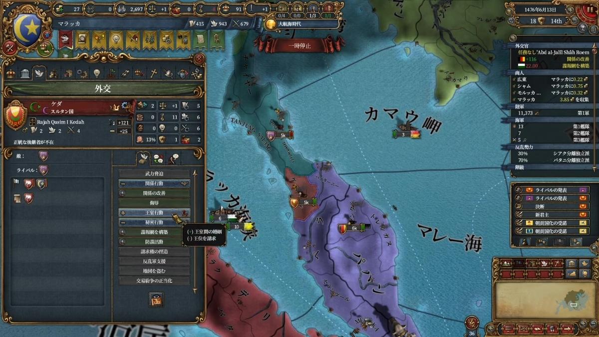 アユタヤ戦後の国境線