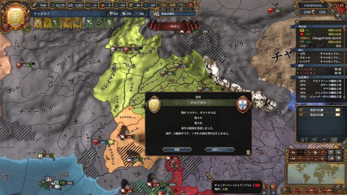 ポルトガル戦白紙和平