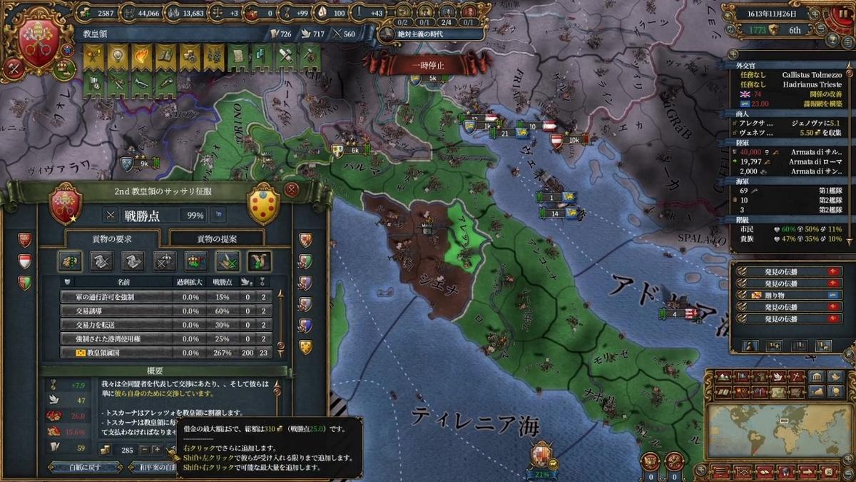 トスカーナと単独和平