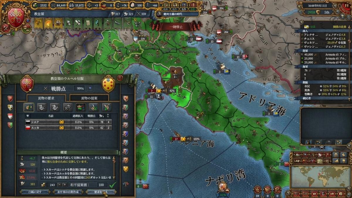 トスカーナとの単独和平(2回目)