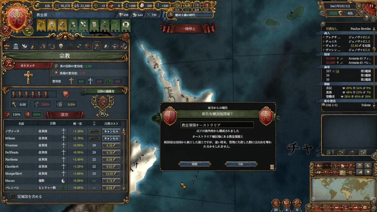 教皇領オーストラリア誕生