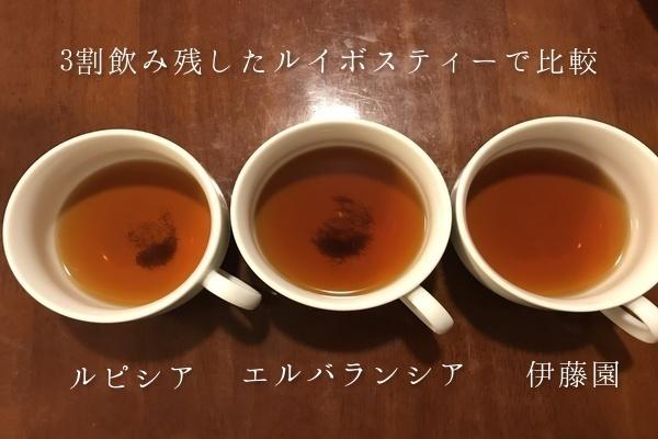 3割残ったルイボスティーで比較。伊藤園とルピシアとエルバランシアの煮出したルイボスティーの色は同じだったが、茶葉の細かさが違った。エルバランシアが一番小さく、二番目がルピシア、伊藤園は茶葉が粗かったため茶こしできれいに濾過できた。