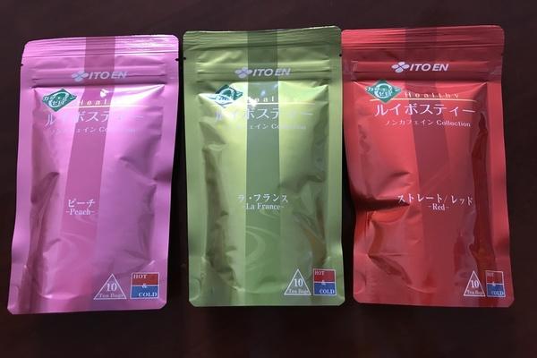 伊藤園のピーチのルイボスティー、ラフランスのルイボスティー、普通の発酵したルイボスティーの3種類。ノンカフェインコレクション。