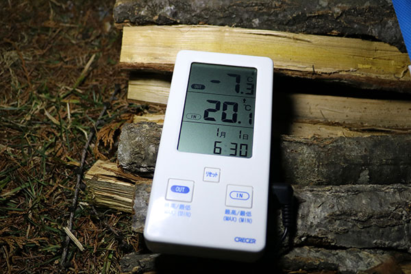 快適なテント内と極寒の屋外