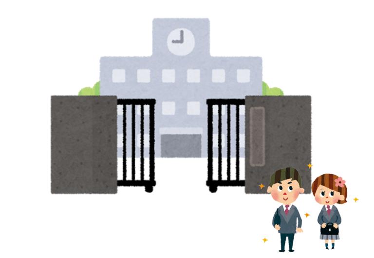 学校の門に新入生