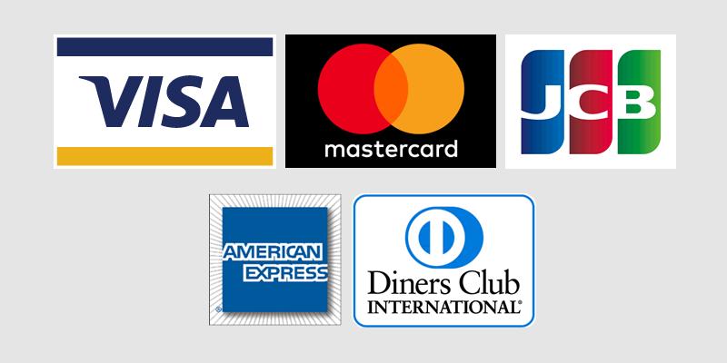 VISA/Master/JCB/AMEX/Dinersでのクレジットカード決済対応