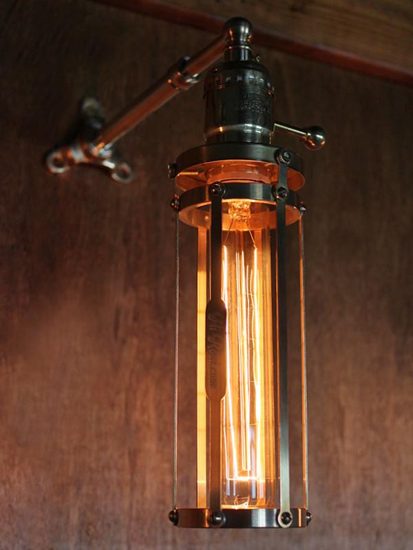 真鍮製ケージガード付き工業系ブラケットライト