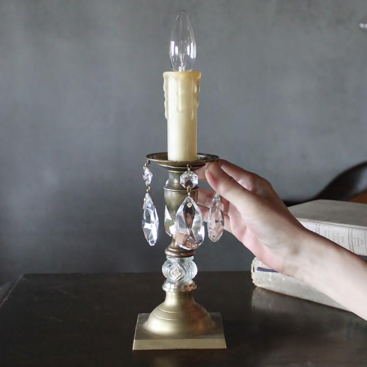 アンティーク照明|プリズム付キャンドルテーブルライト卓上照明ランプ