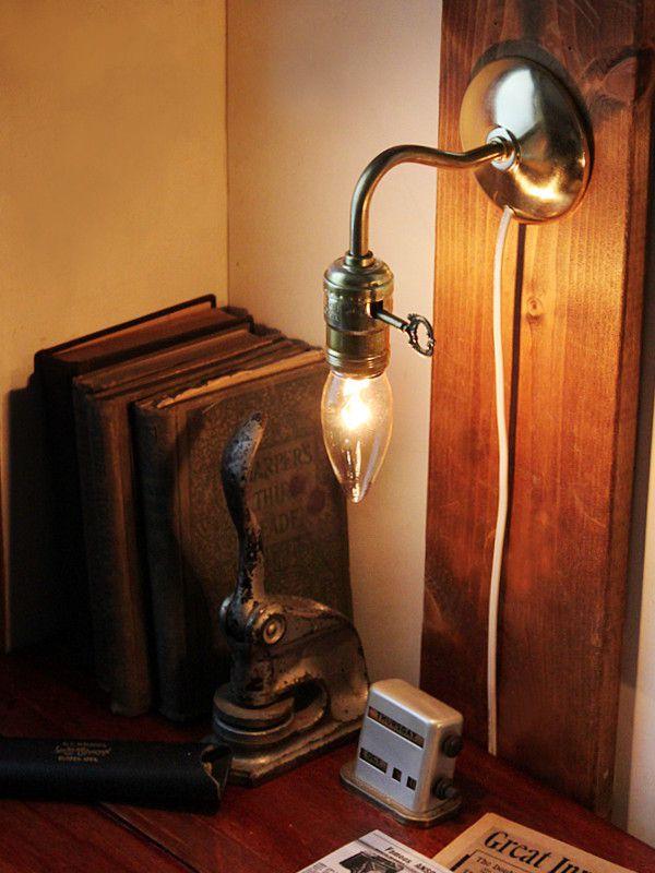電気工事不要・家庭用コンセントで使える壁掛け照明|ブラケットライトアンティークランプ