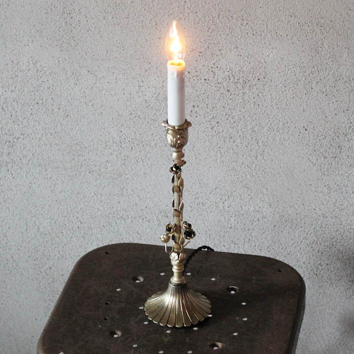 USAヴィンテージヴィクトリアンローズキャンドルランプ 卓上照明テーブルライトアンティーク照明薔薇