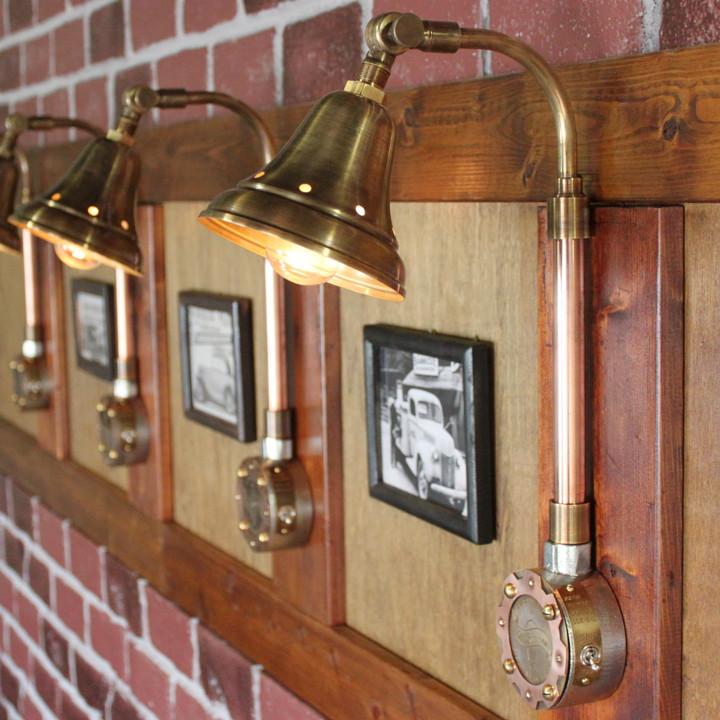 真鍮シェードや銅の配管などを使ったインダストリアル工業系照明|ブラケットライト