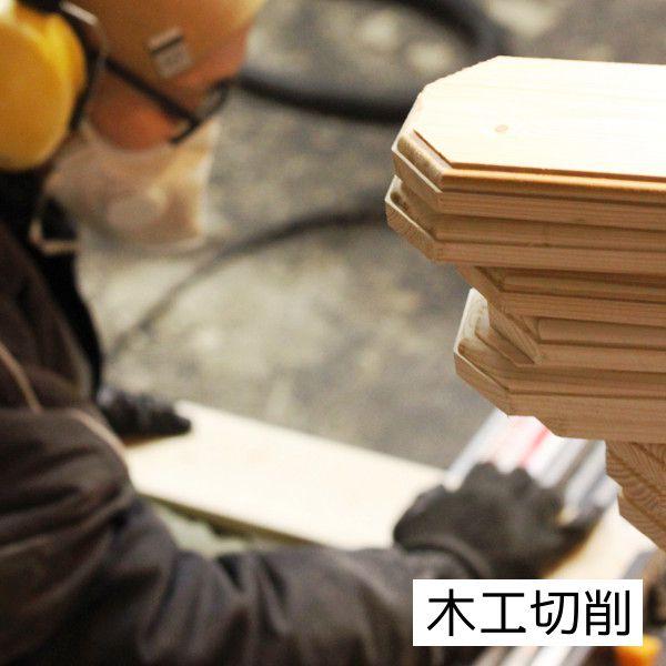 木工切削 壁掛け照明の土台部分となる木製板の製作風景