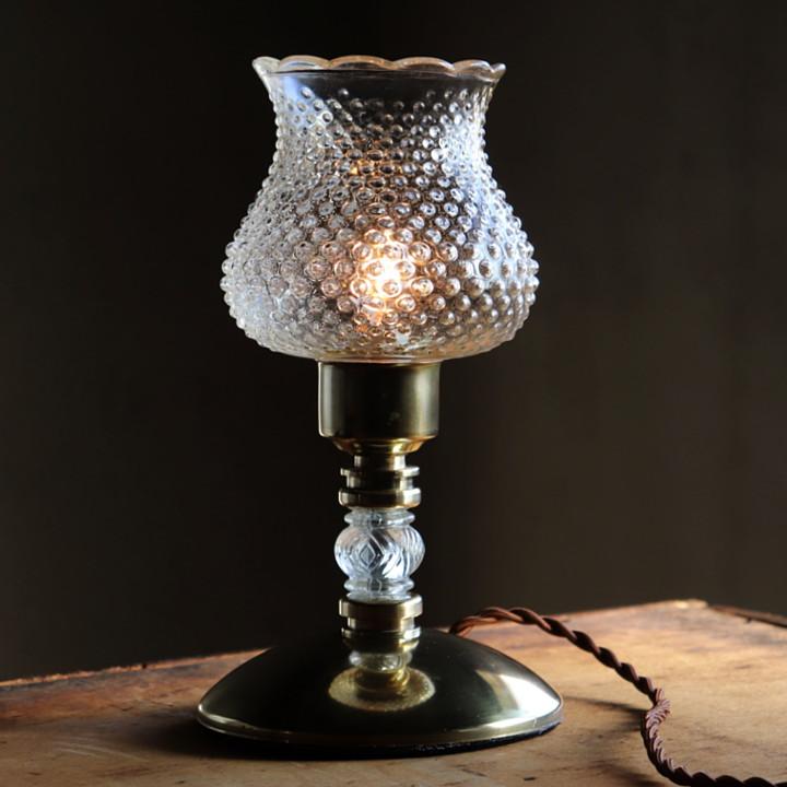 アンティークランプ|ヴィンテージクリアガラスのホブネイルテーブルライト卓上照明