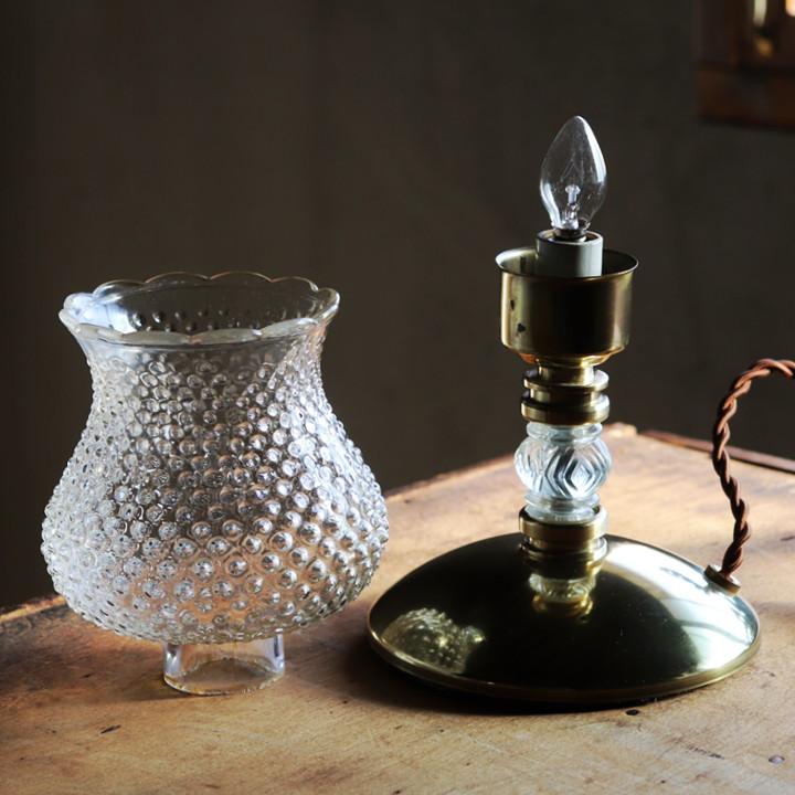 電球口金E12・25Wまで使用可能|アンティーク卓上照明ホブネイルテーブルランプ