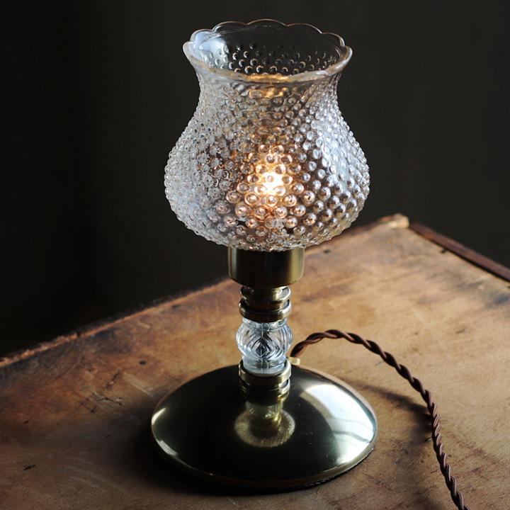 アンティークテーブルランプ卓上照明|クリアガラスのホブネイルヴィンテージテーブルライト
