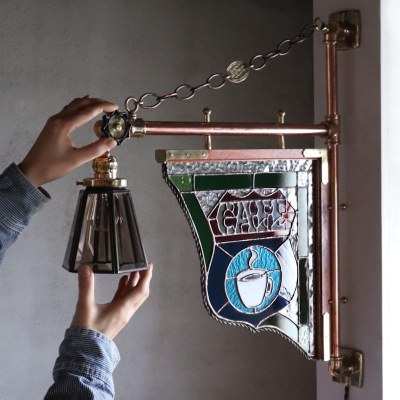 ステンドグラスの照明付きカフェサイン看板の製作|1点もの