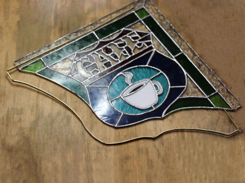 真鍮枠でステンドグラスパネルの補強|ステンドグラスの製作