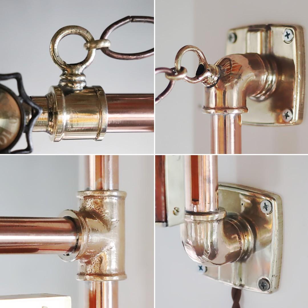 古い銅の配管を真鍮の繋ぎ金具で繋ぎ照明を製作|ステンドグラス看板照明の製作