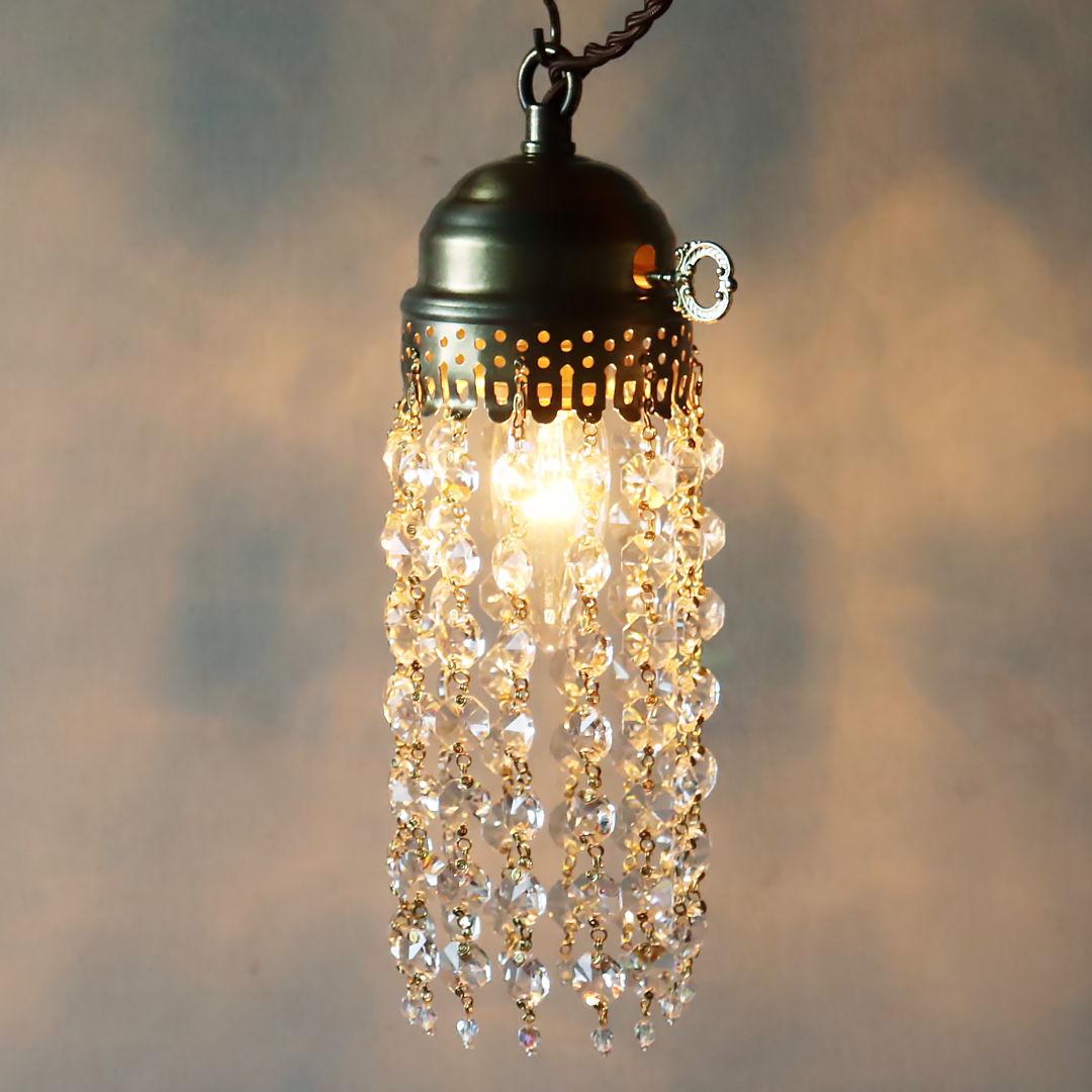 オクタゴンプリズムミニシャンデリアペンダントライト|アンティーク照明