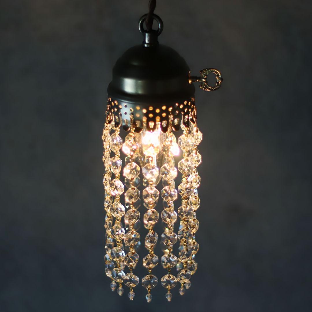 電球の明るさは少し暗いぐらいがガラスを一層美しく見せます|ミニシャンデリア