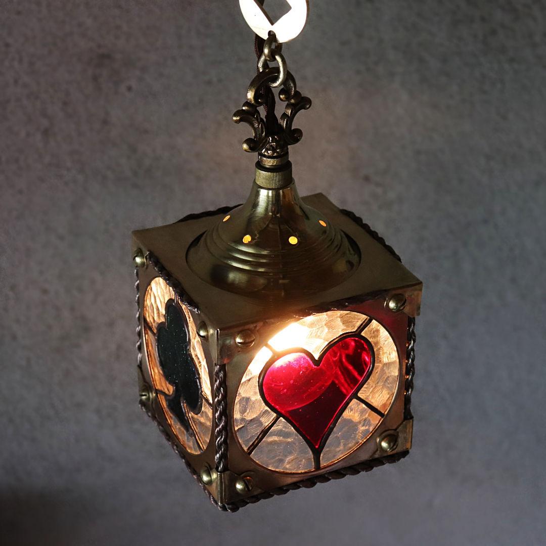 ハンドメイド照明|ステンドグラス製トランプ柄ペンダントライト・オールドアメリカンランプ