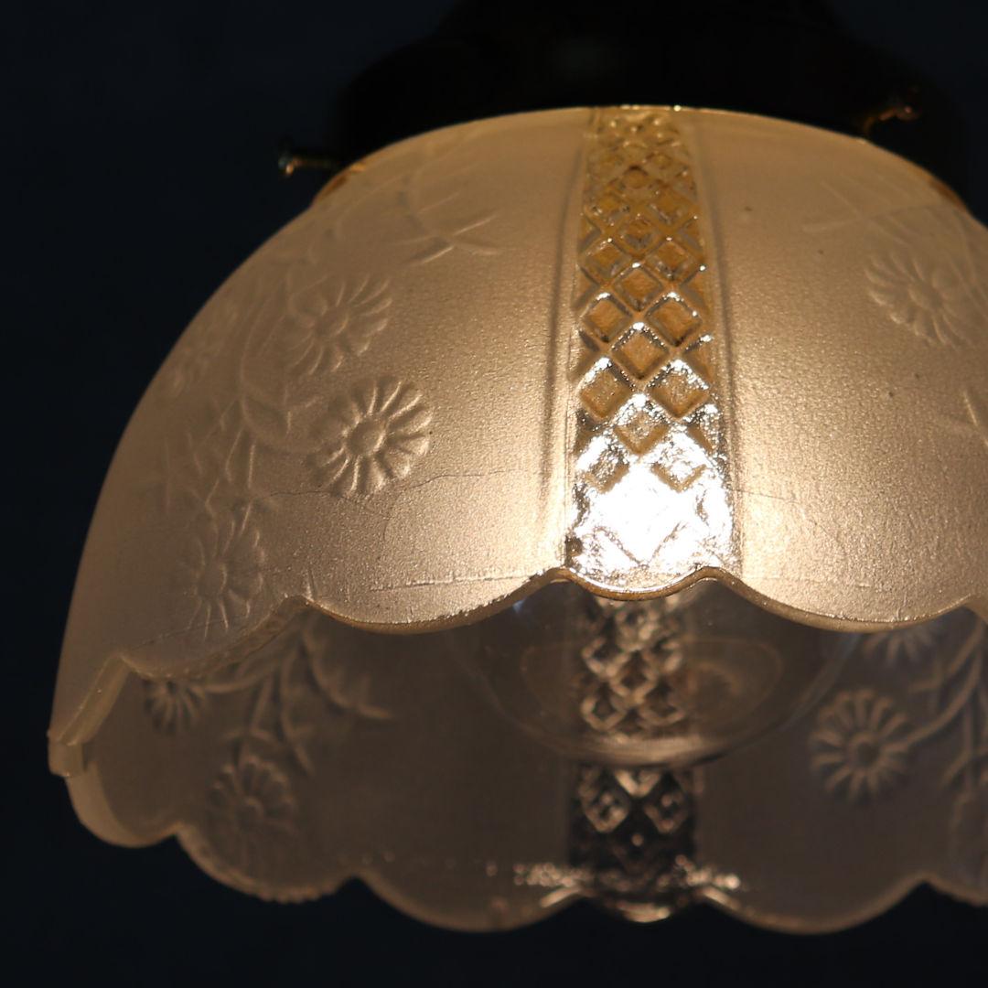 カントリーなヴィンテージフロストガラス花柄ペンダントライト|照明