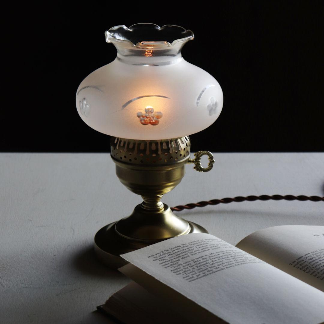 USAヴィンテージフロストガラス製フリルチムニー付テーブルランプ アンティーク卓上照明ライト