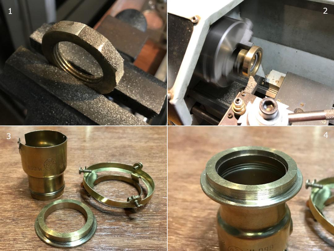 ヴィンテージの工業部品から取ったナットを旋盤で切削加工