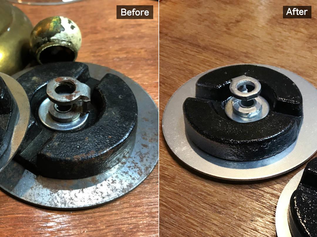 錆びや汚れを落としてリペイント|テーブルランプの内側に仕込む重り
