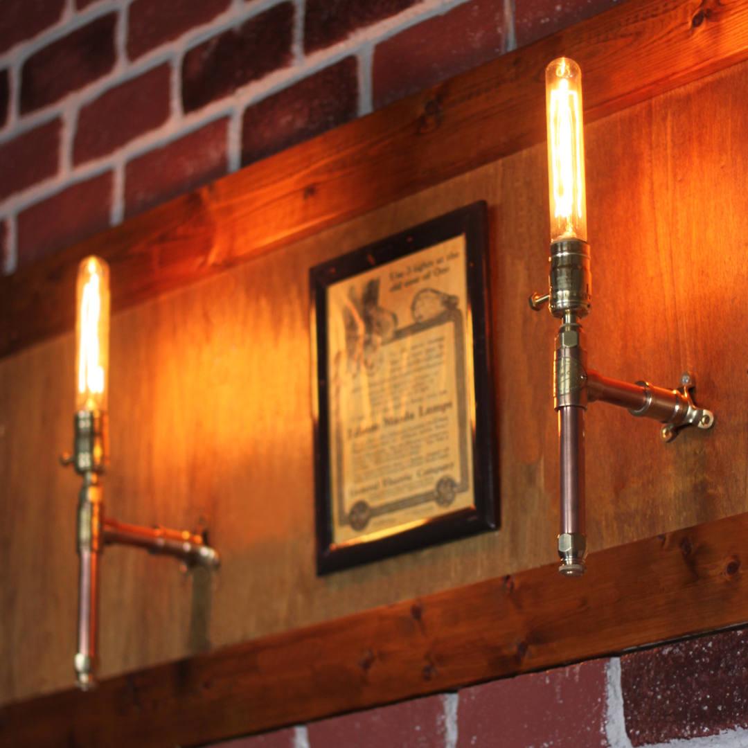 工業系銅製&真鍮配管壁掛け照明|スチームパンクブラケットライト