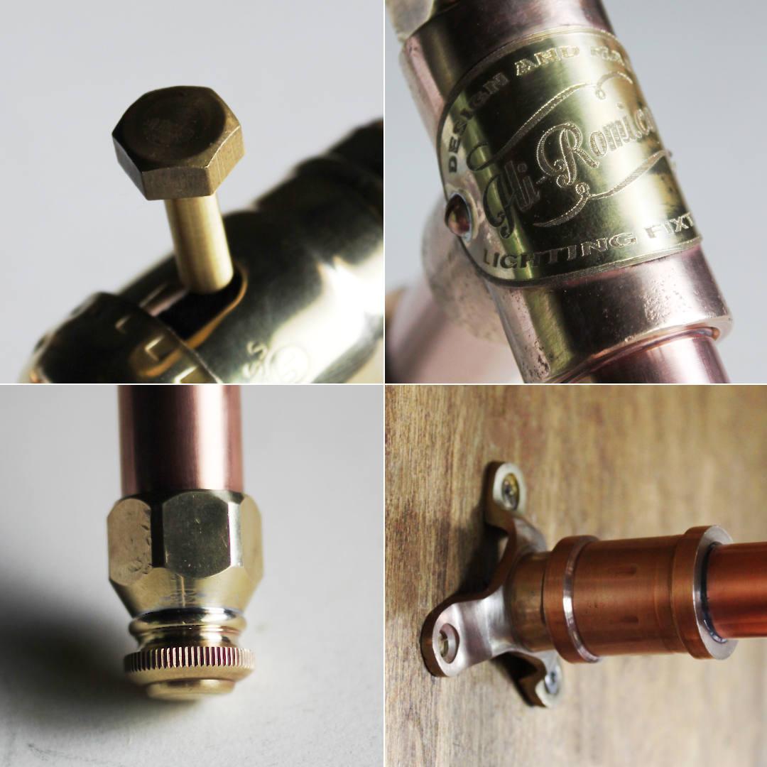 真鍮製の六角ナットやLEVITON社製ソケット|真鍮&銅配管壁掛け照明