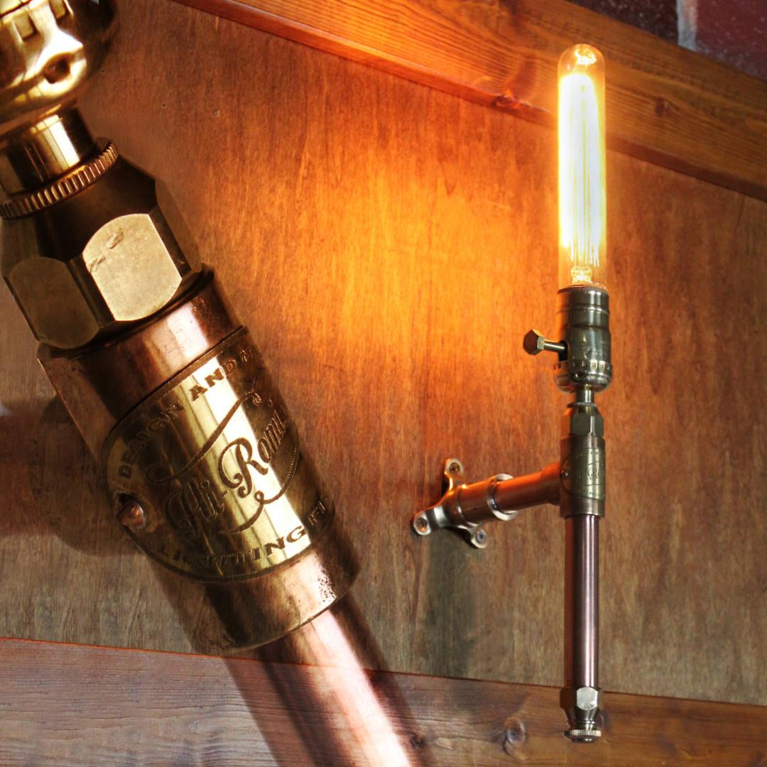 インダストリアルスチームパンクパイプブラケットライト|工業系銅製&真鍮配管壁掛け照明