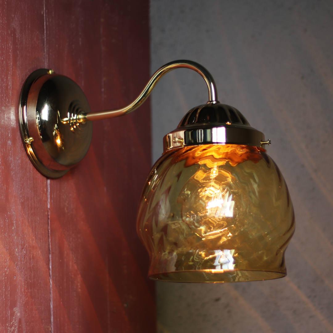 USAヴィンテージアンバーガラスシェード付ブラケットライト アンティーク壁掛け照明琥珀色