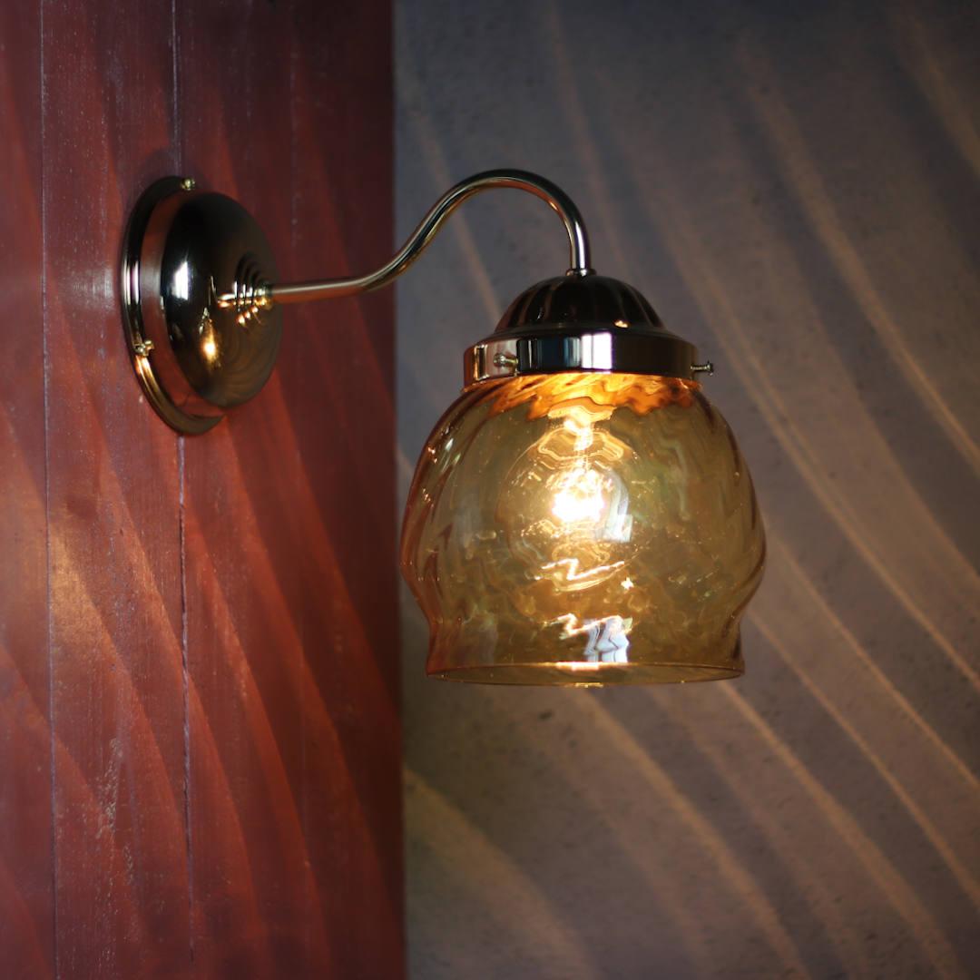 USAヴィンテージアンバーガラスシェードブラケットライト 琥珀色ガラス壁掛け照明