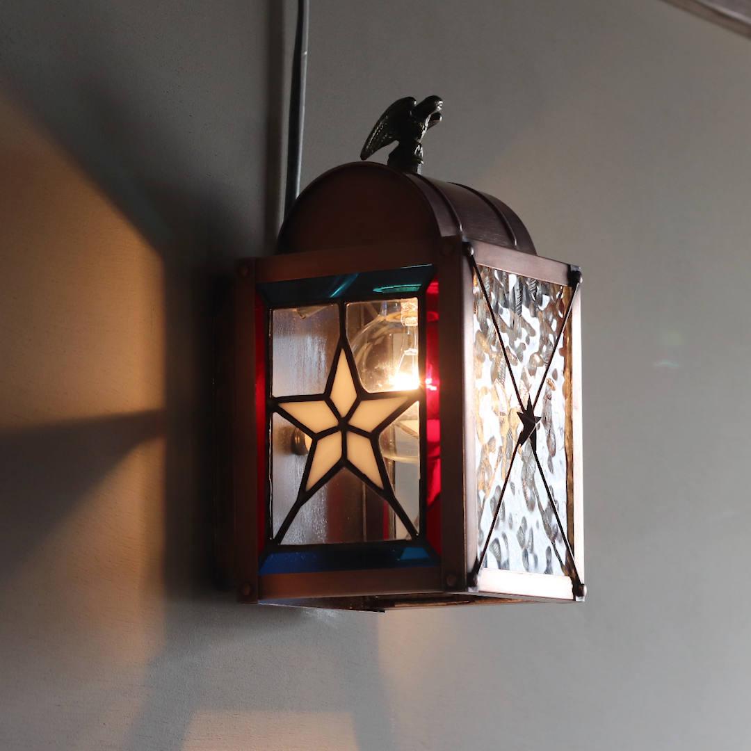 USAヴィンテージランタンランプ・リメイクステンドグラス壁掛け屋内照明 ブラケットライト
