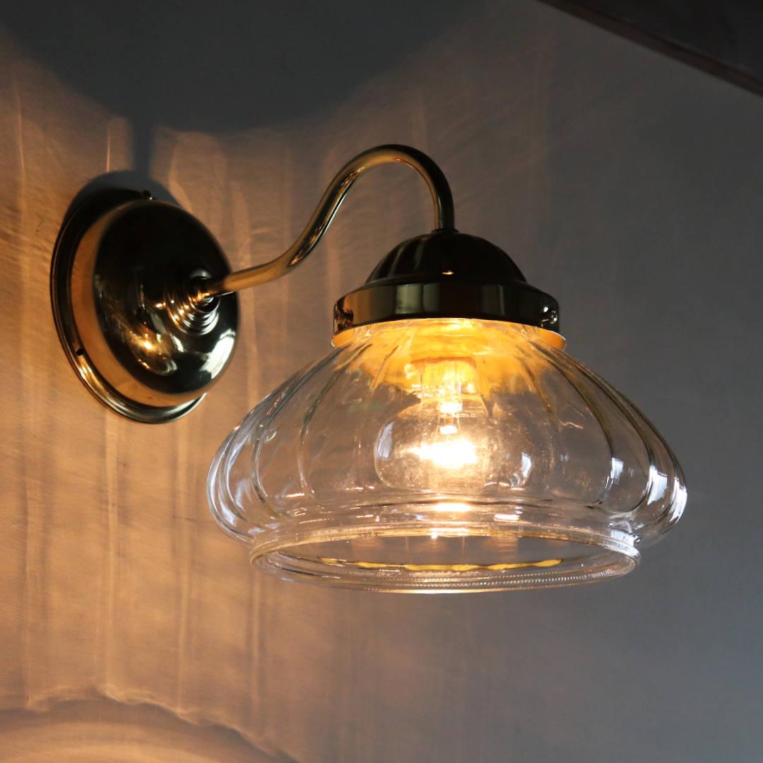USAヴィンテージオニオンシェイプガラスシェード付ブラケットライト|アンティーク壁掛け照明