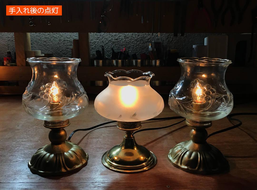 同時期に手入れが完了したテーブルランプ達「工房にて」|アンティーク照明の製作