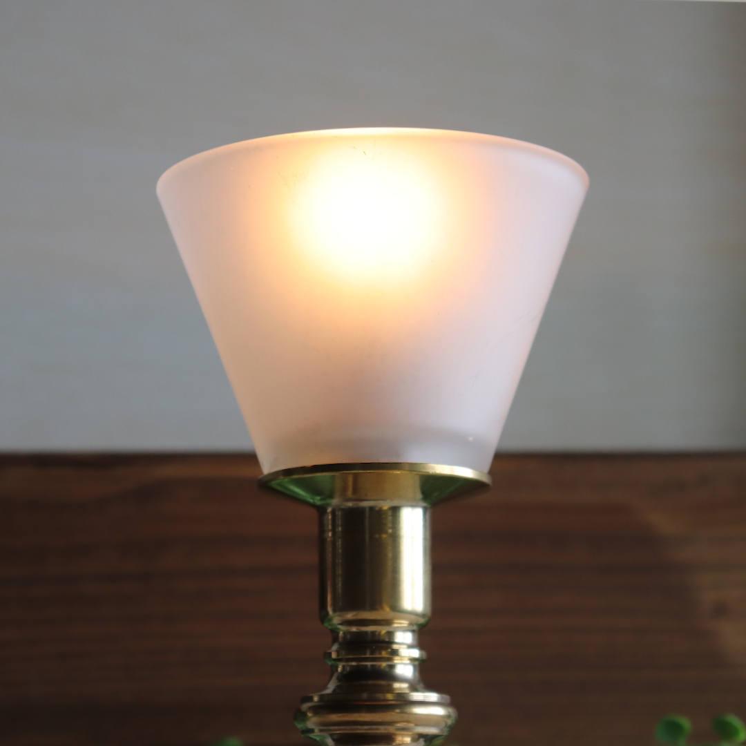 シンプルな円錐形のフロストガラスシェード|真鍮製ミニテーブルランプ