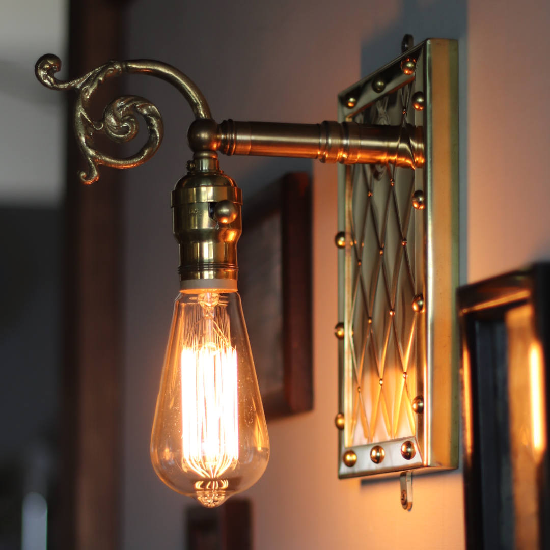 アートデザインランプ・ブラケットライト壁掛け照明 アンティーク&スチームパンクアーガイル柄メタルワーク