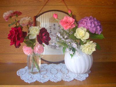バラと紫陽花の切り花