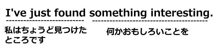 中学生用のスラッシュリーディングの例文2「I've just found something interesting.(私はちょうど見つけたところです/何かおもしろいことを)」
