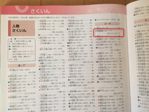 中学社会科の教科書のさくいんページ