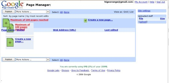 google page creator with opera