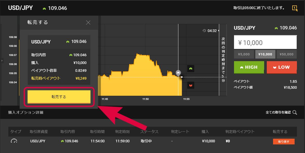 「転売」をクリックする事で画面上に転売時の価格が表示される