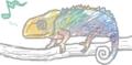 [現代の生き物][陸上の爬虫類][樹上生活][絵本っぽく][reptiles]カメレオン