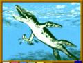 [恐竜時代][水の生き物][海生爬虫類][15メートル以上][肉食][絶滅][reptiles]「 きゃあ! リオプレウロドンが! 」 in ジュラ紀