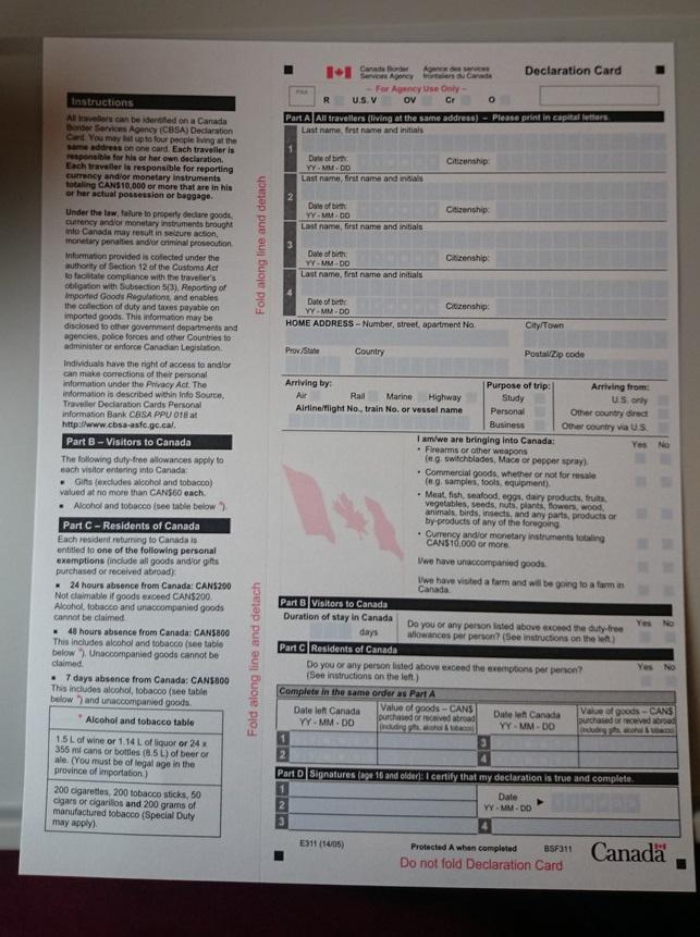 税関申告書