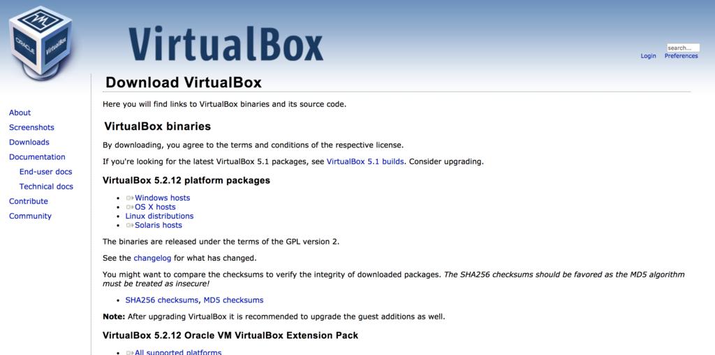 VirtualBox公式サイト