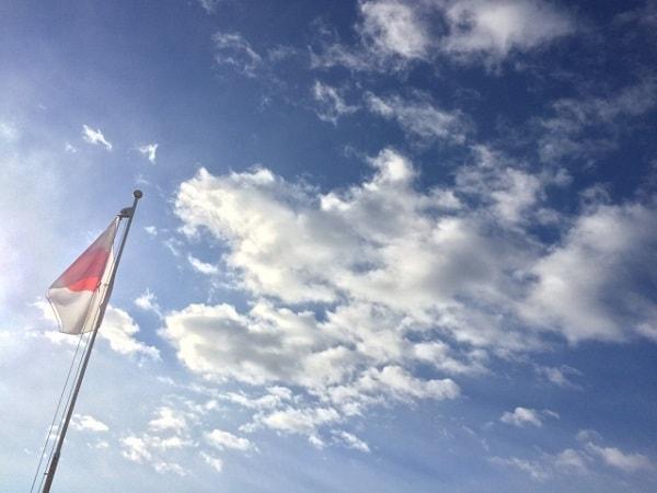 日本の国旗と青空
