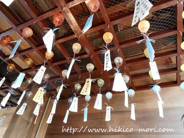 随神門の天井に吊られた風鈴